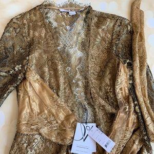 Diane von ferstenberg gold lace wrap dress size 4
